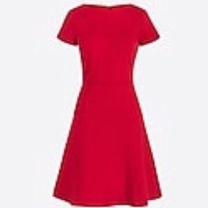 J. Crew Bright Red Flounce Ponte Dress
